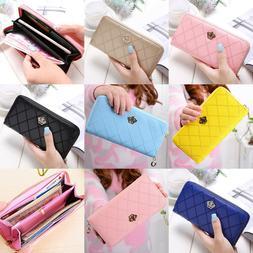 Wallets for Women Crown Long Zipper PU Leather Clutch Wallet