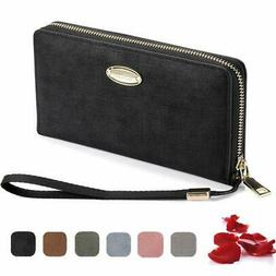 Wallets for Women,Zipper Long PU Leather Checkbook Card Hold