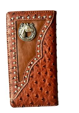 Western wallets for mens Horse Texas State Map Long Bi-fold