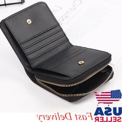 Women Black Small Bifold Leather Wallet Mini Card Bag Zipper