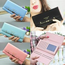 Women Cute Long Wallets Clutch PU Leather Card Holder Purse
