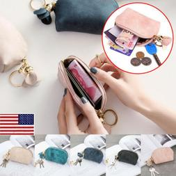 Women Portable Small Soft Leather Zipper Mini Wallet Coin Pu