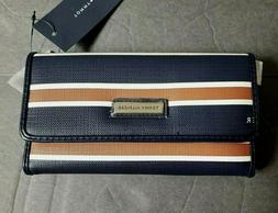 TOMMY HILFIGER WOMEN'S CHECK BOOK WALLET NAVY BLUE