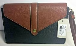 Fossil Women's Phone Card Case Wristlet Clutch Wallet Black