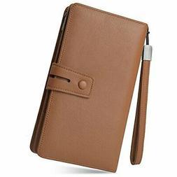Women'S Rfid Leather Wristlet Wallet Organizer Large Phone C