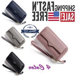 Women Wallets Large Capacity Leather Long Purse Womens Clutc