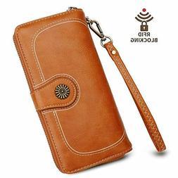 Women Wallets RFID Blocking Long Trifold Womens Wallet Bifol