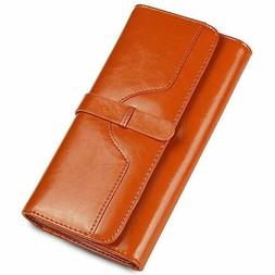 Women's Large Capacity Genuine Leather Clutch Wallet Trifo
