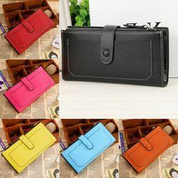 Womens Leather Wallet Card Holder Double Dark Buckle zipper